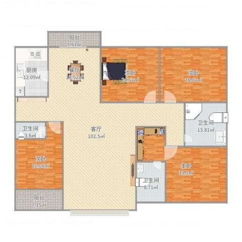 华发新城三期106-20034室1厅3卫1厨324.00㎡户型图