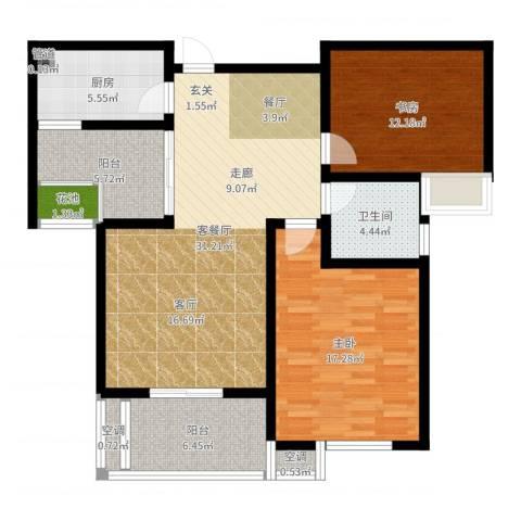 清流水韵2室2厅1卫1厨107.00㎡户型图