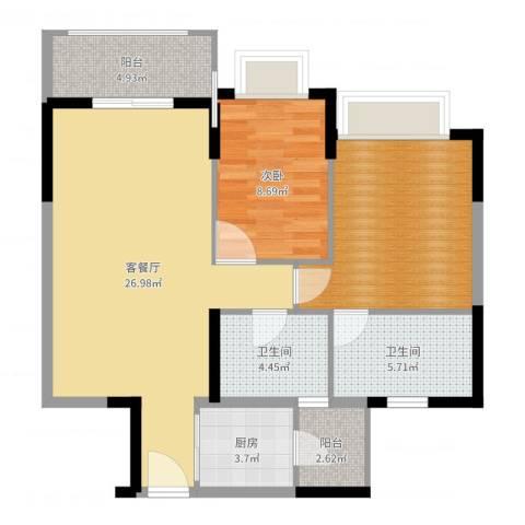 朗晴名门1室2厅2卫1厨87.00㎡户型图
