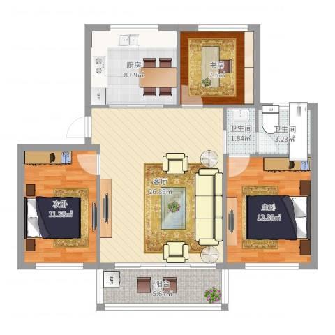 石碶东方苑3室1厅2卫1厨97.00㎡户型图