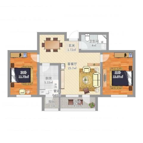 美域新城2室2厅1卫1厨82.00㎡户型图