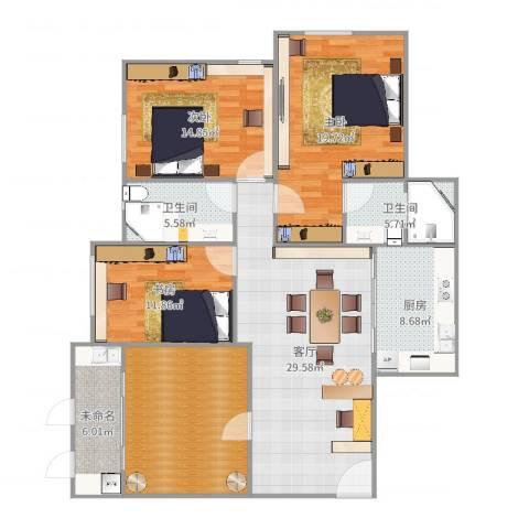 瑞景新村3室1厅2卫1厨148.00㎡户型图
