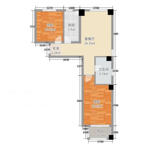 复地哥德堡森林三期墅香洋房2室2厅1卫1厨85.00㎡户型图