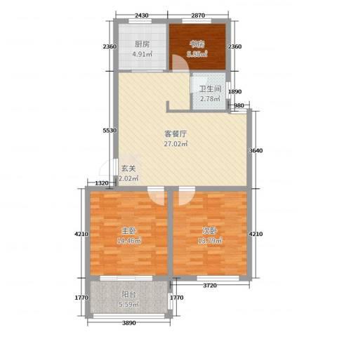 新世家3室2厅1卫1厨93.00㎡户型图