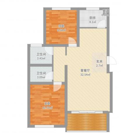 时代中通首府2室2厅2卫1厨90.00㎡户型图