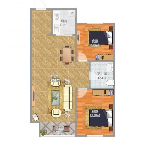 华润橡树湾2室1厅1卫1厨87.00㎡户型图