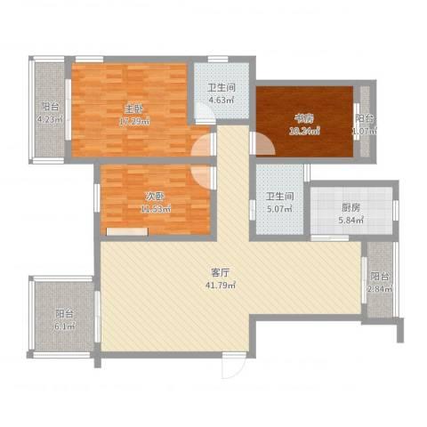 立信帝海观澜3室1厅2卫1厨138.00㎡户型图