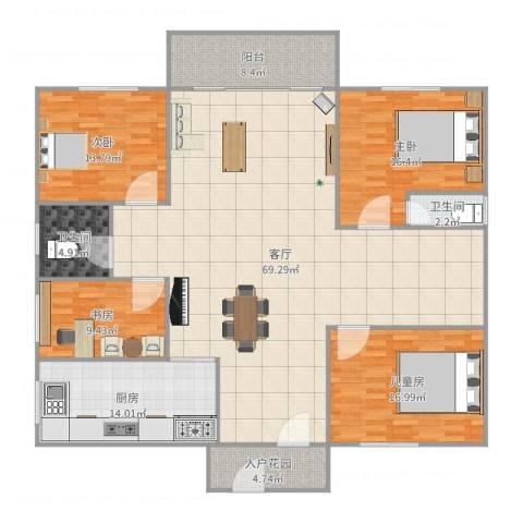 天明豪庭4室1厅2卫1厨200.00㎡户型图
