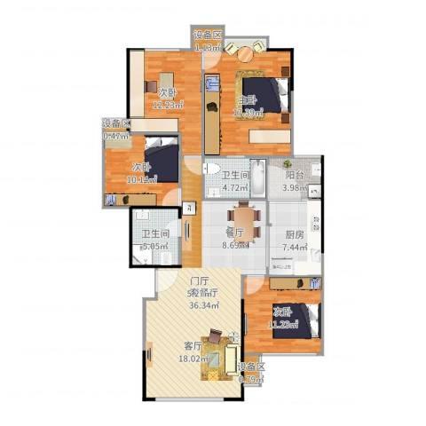 竹韵山庄4室2厅2卫1厨140.00㎡户型图