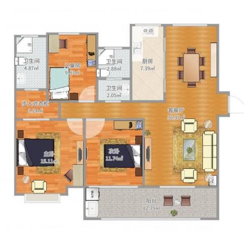 吾悦国际广场3室2厅3卫1厨132.00㎡户型图