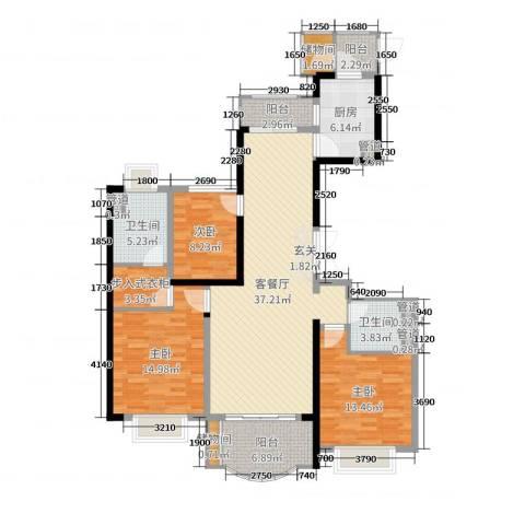 东城万达广场3室2厅2卫1厨135.00㎡户型图