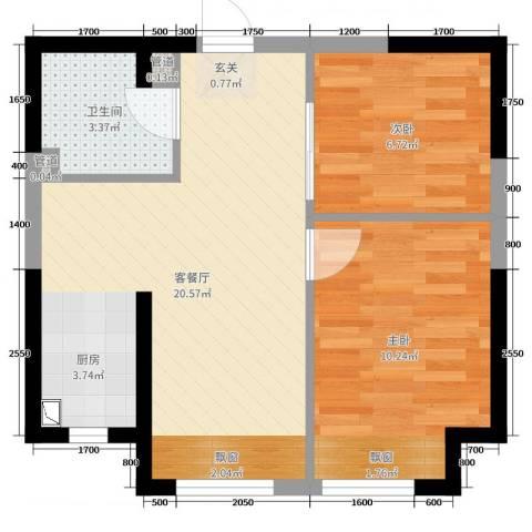 V街区2室2厅1卫0厨55.00㎡户型图