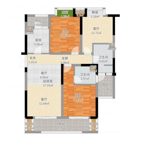 麒麟山庄2室1厅2卫1厨124.00㎡户型图