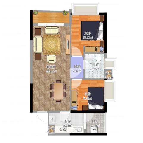 天荟公馆2室2厅1卫1厨79.00㎡户型图