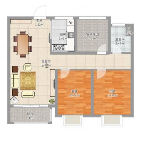 龙达新天地2室2厅1卫1厨78.47㎡户型图