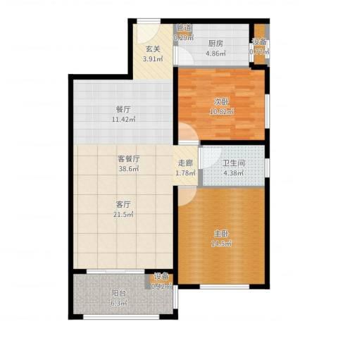 文星大厦2室2厅1卫1厨101.00㎡户型图