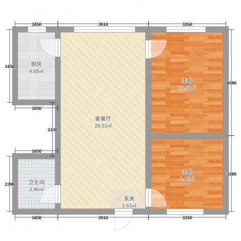 帝豪天成2室2厅1卫1厨74.00㎡户型图