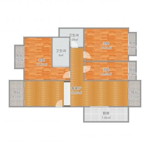 汇银帝景湾3室2厅2卫1厨144.00㎡户型图