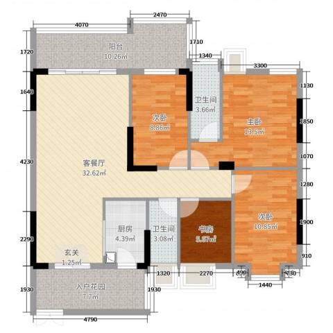 大唐盛世三期4室2厅2卫1厨126.00㎡户型图
