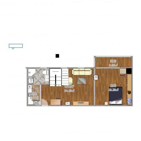 LOFTCC双禧1室2厅1卫1厨55.48㎡户型图