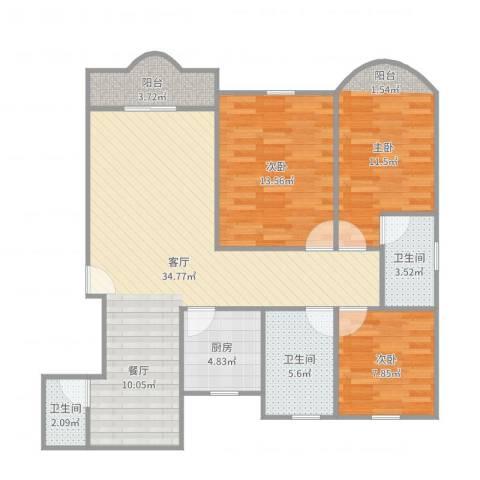 中祥哥德堡3室1厅3卫1厨109.00㎡户型图