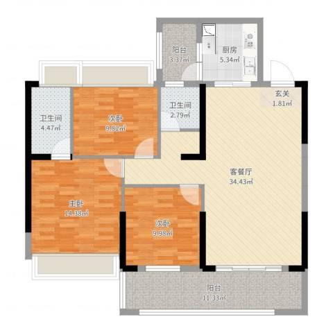东方花园3室2厅2卫1厨120.00㎡户型图
