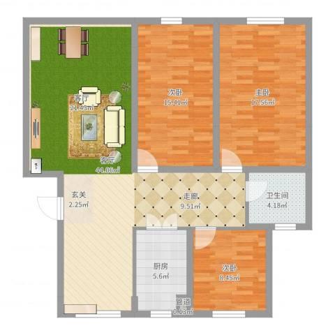京都城3室1厅1卫1厨119.00㎡户型图