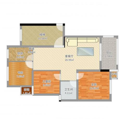 金瑞名都3室2厅1卫1厨108.00㎡户型图