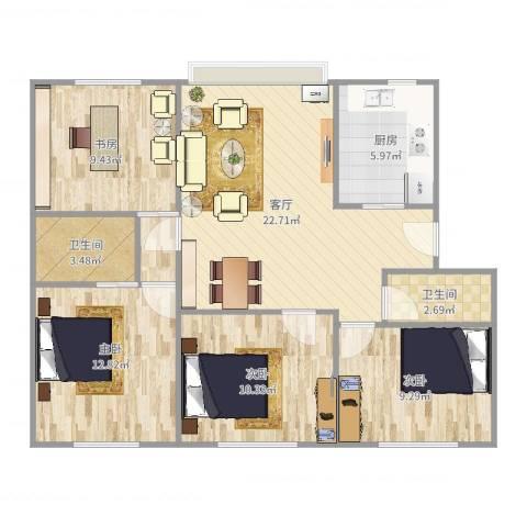 文华苑4室1厅2卫1厨96.00㎡户型图