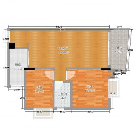 新燕花园2室2厅1卫1厨82.00㎡户型图