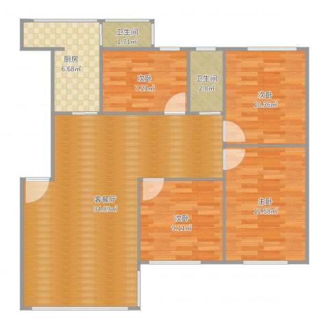 幸福城4室2厅2卫1厨107.00㎡户型图