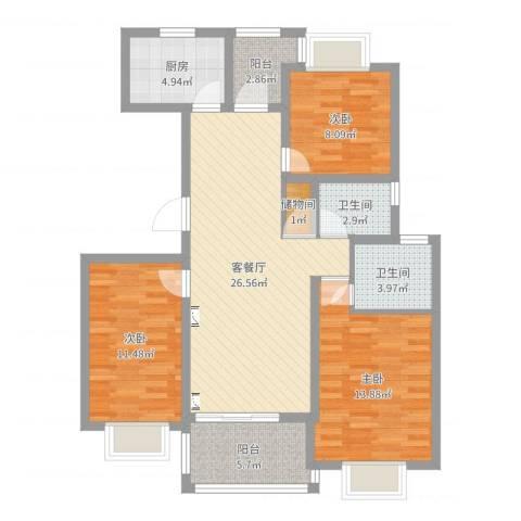 三岛龙州苑3室2厅2卫1厨102.00㎡户型图