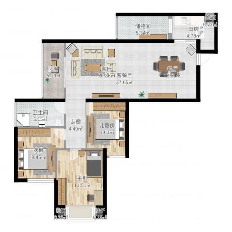 星光苑3室2厅1卫1厨110.00㎡户型图