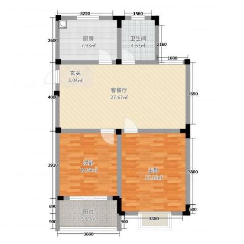 高尔夫家园2室2厅1卫1厨97.00㎡户型图