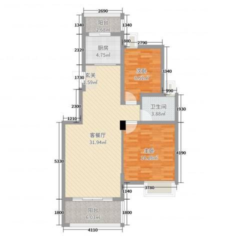 望山公馆2室2厅1卫1厨90.00㎡户型图