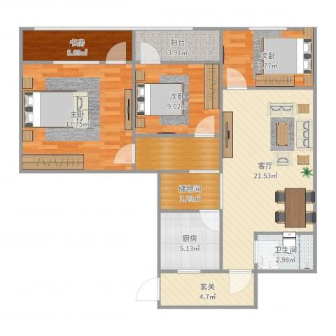 呼家楼北街4室1厅1卫1厨107.00㎡户型图