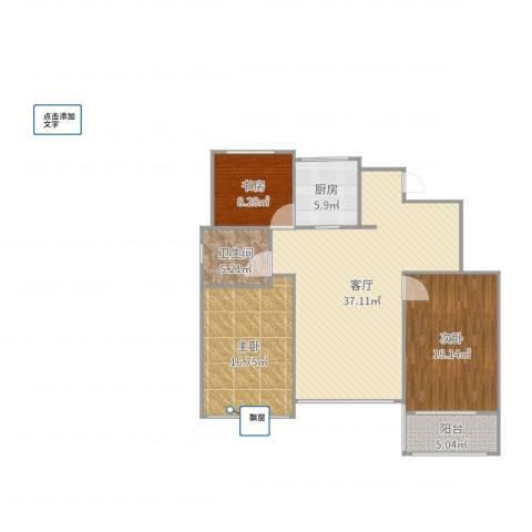 万科龙湾花园3室1厅1卫1厨121.00㎡户型图