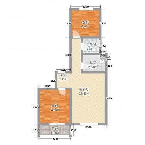 龙洲新城2室2厅1卫1厨73.00㎡户型图