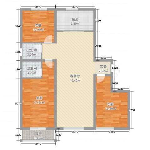 龙洲新城3室2厅2卫1厨124.00㎡户型图