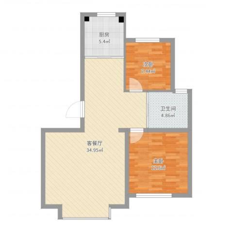吉大菲尔瑞特2室2厅1卫1厨81.00㎡户型图