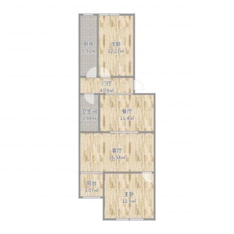 望京西园一区2室2厅1卫1厨88.00㎡户型图