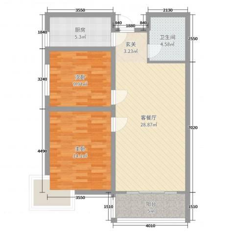 奥龙湾2室2厅1卫1厨85.00㎡户型图