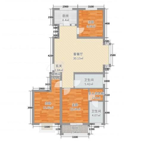 紫阙台3室2厅2卫1厨109.00㎡户型图