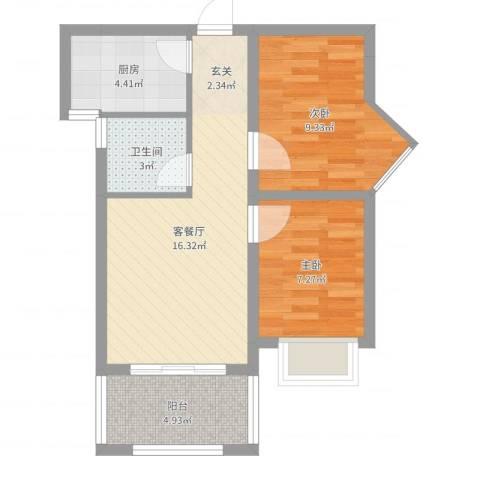 禧福泛海时代2室2厅1卫1厨57.00㎡户型图