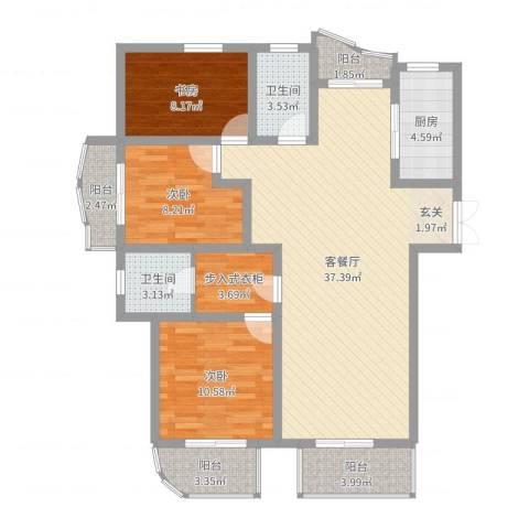 万向城3室2厅2卫1厨114.00㎡户型图