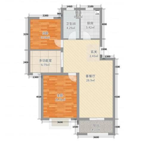 温哥华城・锦绣府邸2室2厅1卫1厨90.00㎡户型图