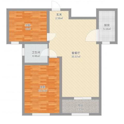 鼓楼上城2室2厅1卫1厨101.00㎡户型图