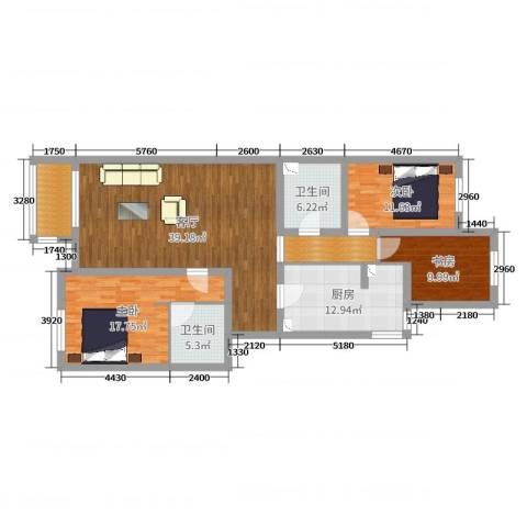 回龙观龙腾苑三区3室1厅2卫1厨139.00㎡户型图