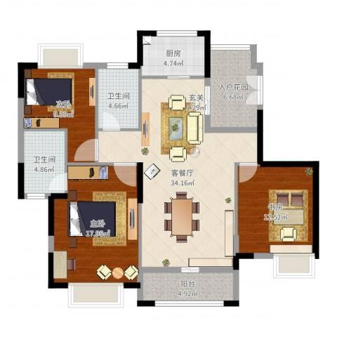 银湖山庄3室2厅2卫1厨126.00㎡户型图