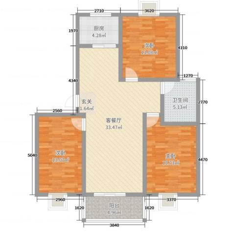 银河花园3室2厅1卫1厨107.00㎡户型图